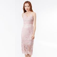 Đầm ôm 2 dây Amun phối ren màu hồng DOM232-HONG