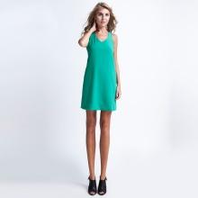 Đầm suông hở vai DRE033 (xanh peacock)