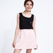 Váy mini ngắn xếp ly SKI008 (hồng champagne)