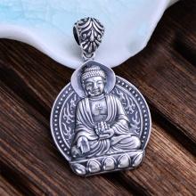 Mặt dây chuyền bạc nam phật a di đà handmade Hadosa