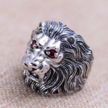 Nhẫn bạc nam đầu Sư Tử size 9 handmade Hadosa