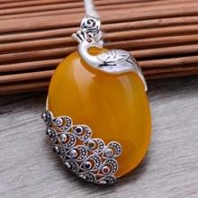 Mặt dây chuyền đá Chalcedony vàng bạc Thái 925