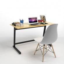 Bộ bàn Rec-Z đen 1m2 và ghế Eames chân gỗ trắng