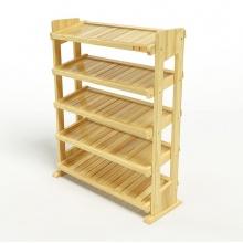 Kệ dép 5 tầng IB580 gỗ cao su 80x30x98 cm màu tự nhiên