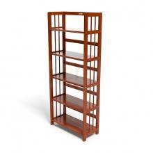 Kệ sách 5 tầng HB563 gỗ cao su màu cánh gián (63x30x150cm) - IBIE