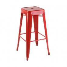 Ghế bar Tolix chân cao màu đỏ - IBIE