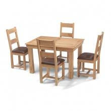 Bộ bàn ăn IBIE 4 ghế Victoria gỗ sồi