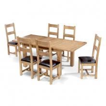 Bộ bàn ăn mở rộng 6 ghế IBIE Rustic gỗ sồi