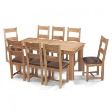 Bộ bàn ăn IBIE 8 ghế Victoria gỗ sồi