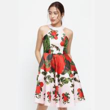 Đầm yếm Amun màu hồng phối hoa đỏ DX140-HONG