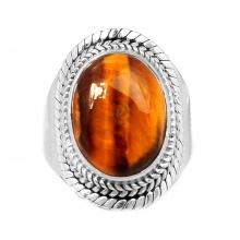 Nhẫn đá mắt hổ bạc 925 size 9.5 Hadosa