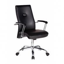 Ghế trưởng phòng IB310 tay ốp gỗ chân thép mạ cao cấp màu đen - IBIE