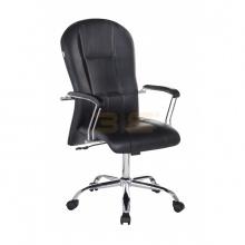 Ghế trưởng phòng IB320A tay ốp gỗ chân thép mạ cao cấp màu đen - IBIE