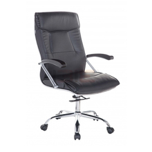 Ghế trưởng phòng IB203 khung đúc tay gỗ chân thép mạ cao cấp màu đen - IBIE