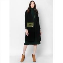 Áo khoác dạ đen lông cừu - Mimi