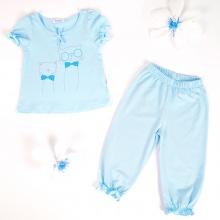 Set đồ bộ mặc nhà (tay ngắn) cotton cho bé gái - Tiniboo (Xanh nhạt - Vàng Nhạt)