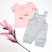 Set áo thun tay ngắn (hồng) và quần yếm cho bé gái Tiniboo