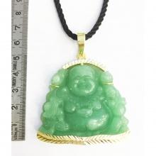 Mặt dây chuyền phật di lặc đá xanh ngọc lục bảo mạ vàng 14k - MDC113