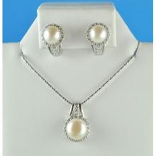 Bộ trang sức ngọc trai mạ vàng trắng - BTS416
