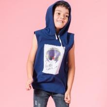 UN10 - áo thun bé trai SN có nón (xanh)