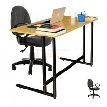 Bộ bàn Oak-U đen và ghế IB505 có tay đen