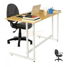 Bộ bàn Oak-U trắng và ghế IB505 có tay đen