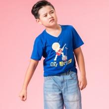 UN07- áo thun bé trai (xanh)