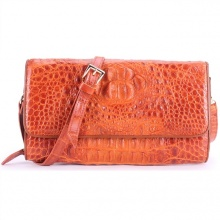 Túi xách nữ da cá sấu Huy Hoàng đeo chéo màu vàng HV6230
