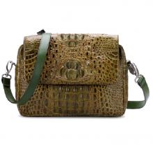 Túi xách da cá sấu Huy Hoàng hộp vuông màu rêu HV6213
