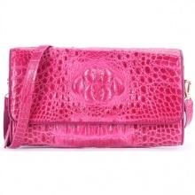 Túi xách nữ da cá sấu Huy Hoàng đeo chéo màu hồng HV6260