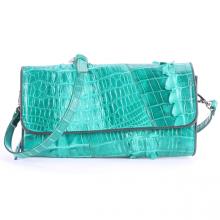Túi xách nữ da cá sấu Huy Hoàng đeo chéo 2 gai màu xanh lá HV6252