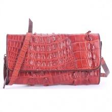 Túi xách nữ da cá sấu Huy Hoàng đeo chéo 2 gai màu nâu đỏ HV6247