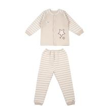 Mimi - Bộ Pajamas bông chần nâu ngôi sao Organic cotton