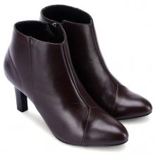 Giày boot nữ Huy hoàng da bò màu nâu chỉ hình tam giác HV7039