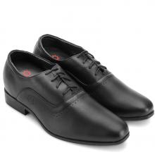 Giày nam tăng chiều cao Huy Hoàng cột dây màu đen  HV7723