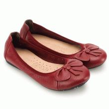 Giày nữ búp bê Huy Hoàng da bò màu đỏ đô HV7909