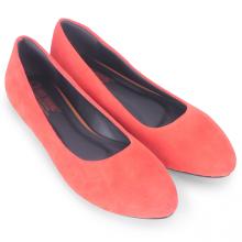Giày nữ đế bệt Huy Hoàng da lộn màu cam HV7923