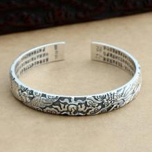 Vòng kiềng bạc Thái handmade chạm Rồng - Phụng 60x10mm