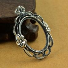 Đế mặt dây chuyền bạc Thái handmade 19x27mm Hadosa