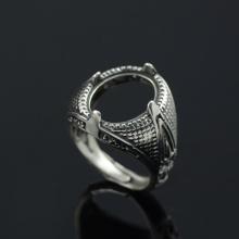 Đế nhẫn bạc Thái handmade 11.4x15mm Hadosa