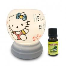 Đèn xông tinh dầu Bát Tràng - Hello Kitty + Tặng 01 lọ tinh dầu sả chanh 10ml