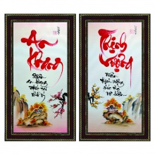 Tranh thư pháp vẽ tay bộ đôi An khang thịnh vượng TP_38x68_04 - Thế giới tranh đẹp