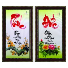 Tranh thư pháp vẽ tay bộ đôi Phúc đức TP_38x68_12 - Thế giới tranh đẹp