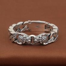 Lắc tay nam bạc Thái 925 đầu Cọp size 20cm x 15mm