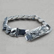 Lắc tay bạc nam size chạm rồng Hadosa - TSB101BS1916