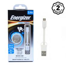 Cáp Micro USB Energizer Pocket 8cm (White)