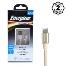 Cáp Lightning Energizer Metallic Aluminum 1.2m (Gold)