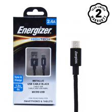 Cáp Micro USB Energizer Metallic Aluminum 1.2m (Black)