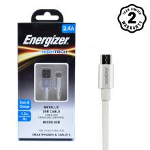 Cáp Micro USB Energizer Metallic Aluminum 1.2m (White)
