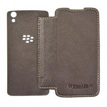 DTR - Bao da mộc BlackBerry DTek50 dạng cầm tay gập màu nâu đất